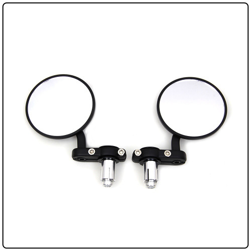 Cafe Style Bar End Mirrors-Black
