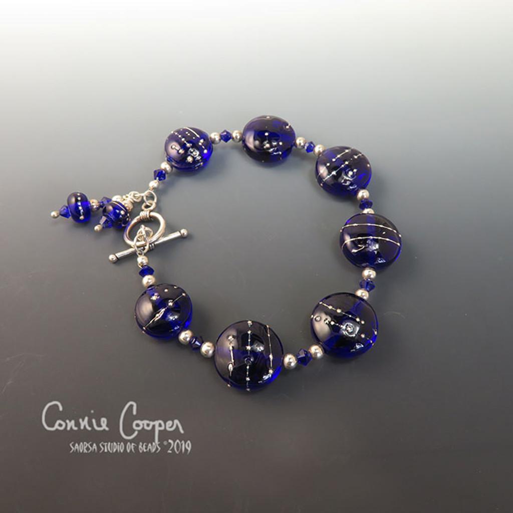Lampwork Bracelet, Silver Wrapped Cobalt GBB16-3306