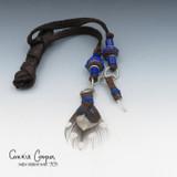 Braid Wrap, Dk Choc Brown Body, Dk Brown & Blue Beads, Feather & Crystal BW21-4667