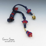 Braid Wrap, Red Body w/Blue Laces, Red & Blue Beads, Bead Charm & Coins/Bell BW21-4672