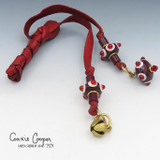 Braid Wrap, Red Body, Red, & White Beads, Bead Charm & Coins/Bell BW21-4674