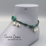 Stone Chip Anklet, Malachite, Greens w/accent Mattes,  Ank21-4688
