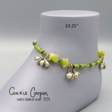 """Stone Chip Anklet, """"New"""" Jade, Bright Yellow Greens,  Ank21-4691"""