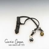 Braid Wrap, Black Body, Black & White Beads, Bead Charm & Coins/Bell BW21-4786