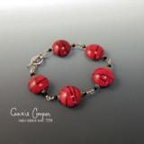 Lampwork Bracelet, Red & Black Striped GBB16-3307