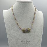 Fancy Single Bead Silver Foiled Ivory Organic  GBN17-3471