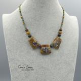 Collar, Golden Silver Reactive w/Metallic Floral GBN17-3402