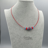 Changeable 3-Bead Choker,  Turquoise & Red on Red  GBN20-4205
