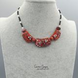 Collar Dusky Dark Brick Red w/Blk & White Abstract GBN20-4212