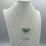 Fancy 3-Bead in Teal w/iridescent Floral GBN20-4273