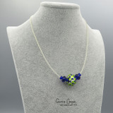 Fancy 3-Bead in Cobalt w/Spring Green & White GBN20-4275