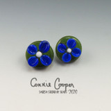 Buttons, Set of 2 Small, Dk Olive w/Cobalt Flowers GBut20-4361