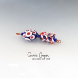 "Beads, Designer ""Set"" of 2, Red, White, Blue LBS20-4398"