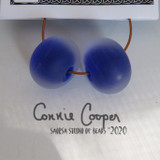 Beads, Pair, Frosted Cobalt LBS20-4403