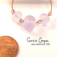 Beads, Set of 3 Very Pale Matte Transparent Lavender LBS19-4079