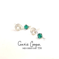"Spiral Earposts with ""Emerald"" Swarovski Crystal FE19-4113"