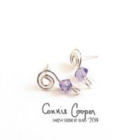 "Spiral Earposts with ""Provence Lavender"" Swarovski Crystal FE19-4117"