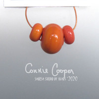 Beads, Set of 3, Orange Coral  LBS20-4377