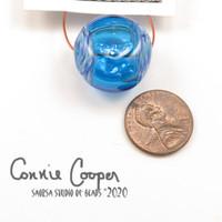 Bead, Focal, Hollow Blue w/Melted Twistie LBF20-4366
