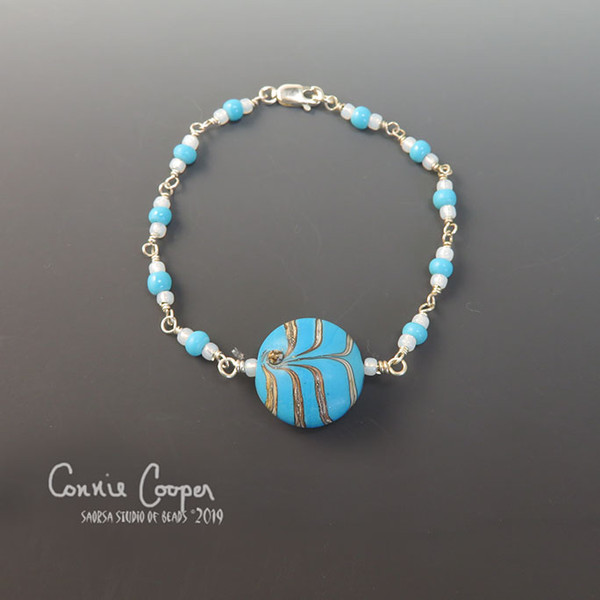 Simplicity in Turquoise & Silvered Ivory  GBBra19-3879