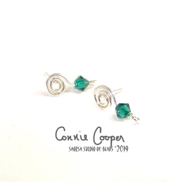 "Spiral Earposts with ""Emerald"" Swarovski Crystal FE19-4113"