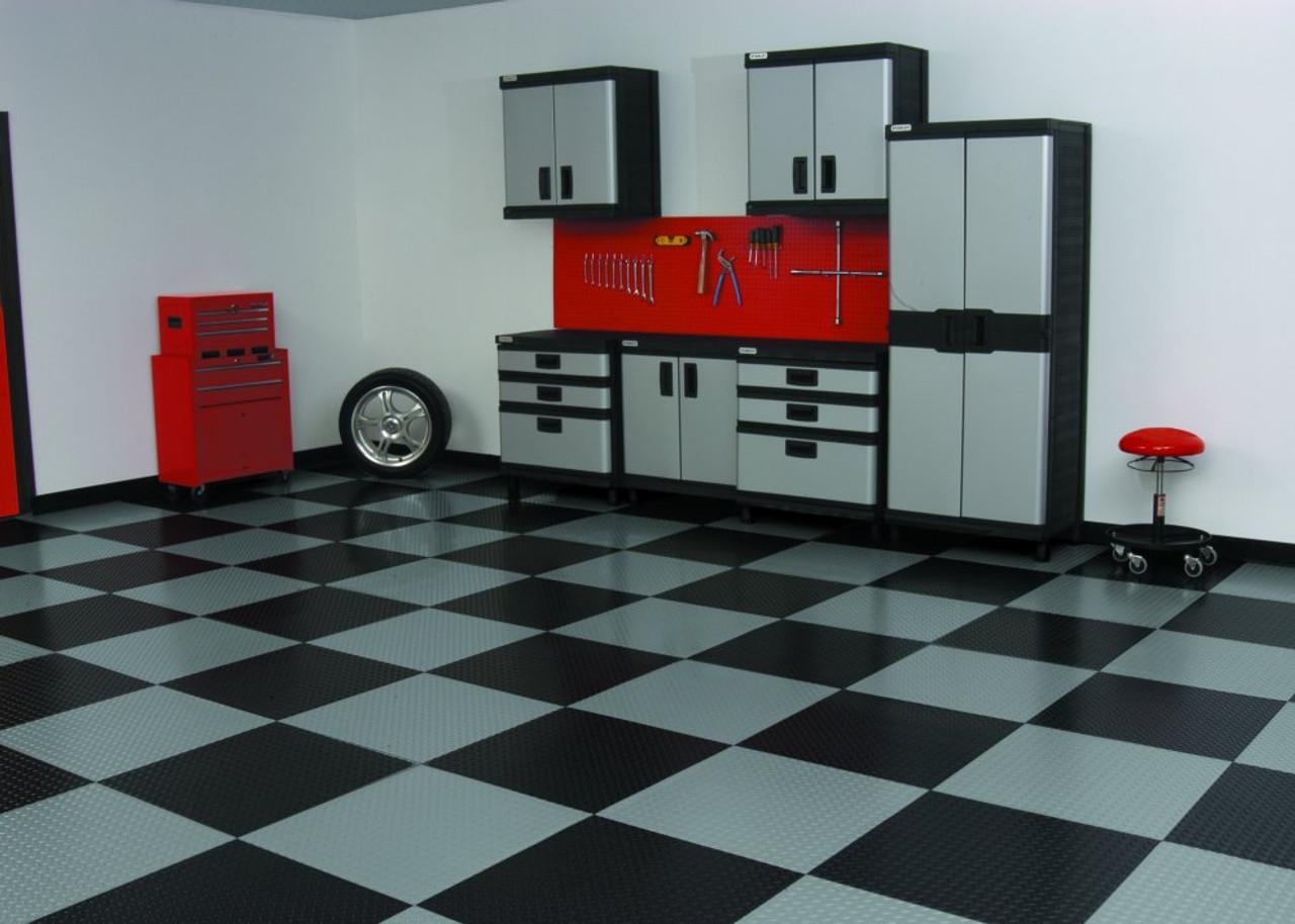 Raceday Peel And Stick Vinyl Garage Floor Tiles Race Day Levant Pattern Tiles