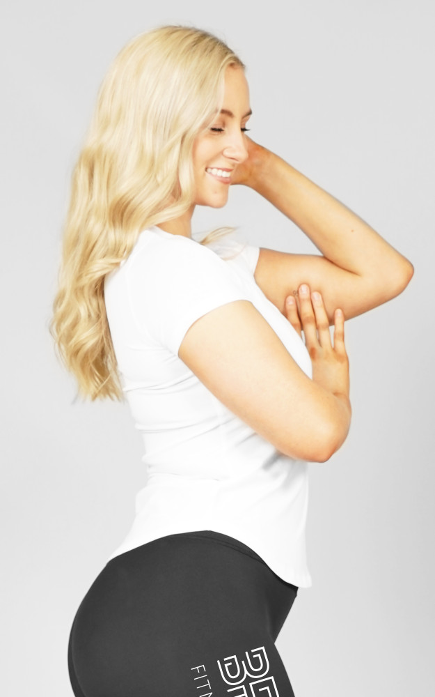 BPM: White Ladies Slim-Fit Tee