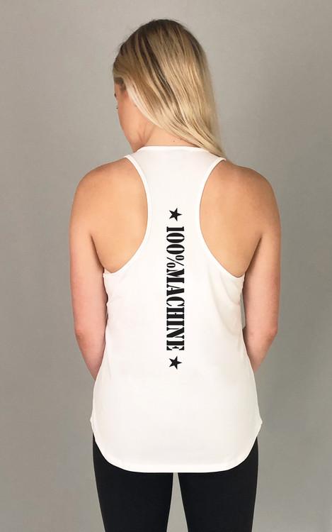 KDP 100%: White Ladies Slim-Fit Singlet