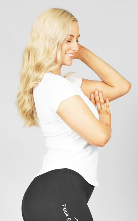 Peak Endurance: White Ladies Slim-Fit Tee