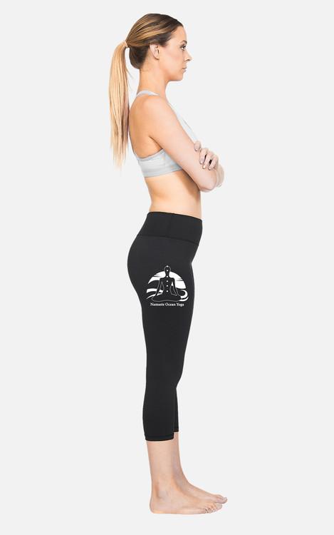 Yoga 4 Yachties, Ocean logo: Ladies Hi-Rise 3/4 Length Tights
