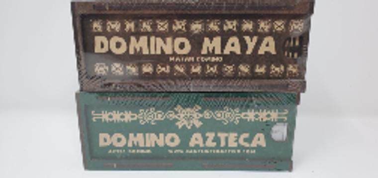"2.5"" x 6 3/4 inch domino box set, made of laser cut mdf with printed Aztec/Mayan numbers, green Aztec motif/brown Mayan motif"