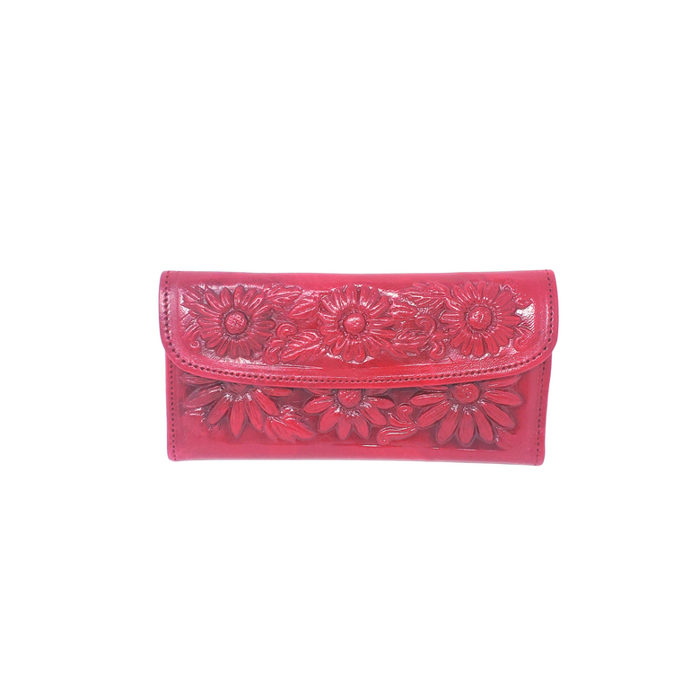 Flower Leather Wallet Burgundy
