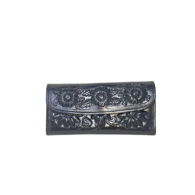 Flower Leather Wallet Black