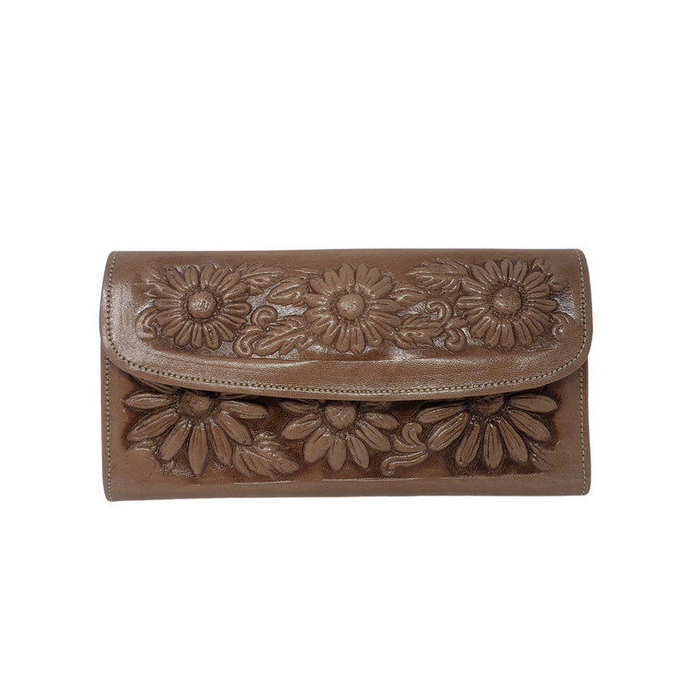 Flower Leather Wallet Brown