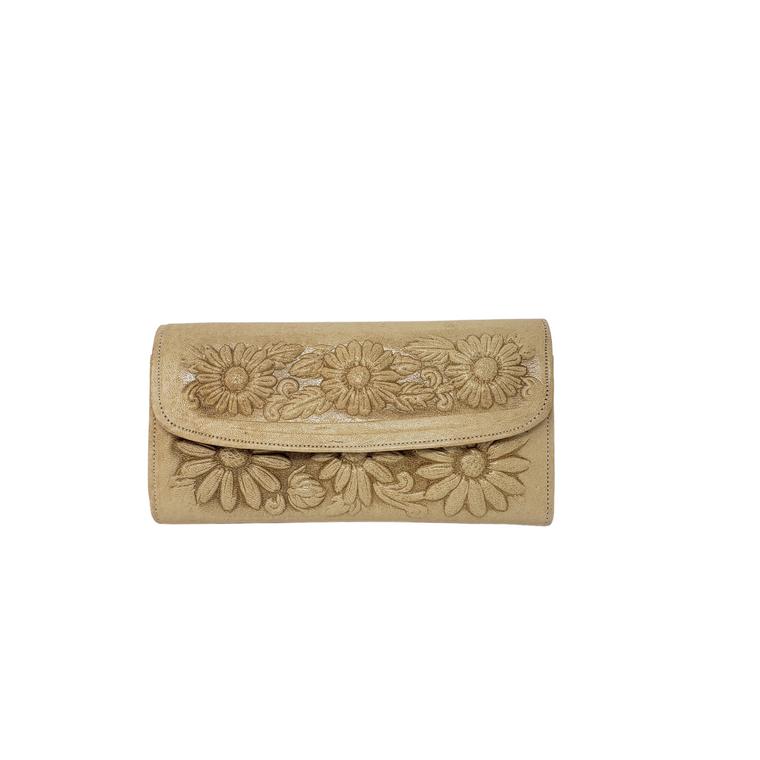 Flower Leather Wallet Beige
