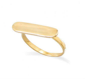 14 Karat Gold Vermeil Bar Ring