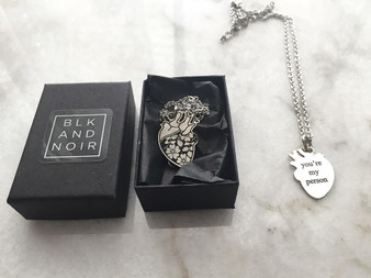 "Sterling Silver ""you're my person"" Human Heart Necklace"