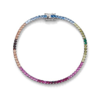 Rainbow CZ Tennis Bracelet In Sterling Silver