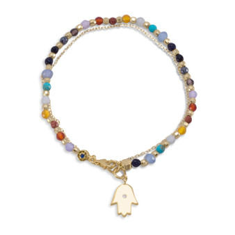 14 Karat Gold Vermeil Rainbow Multi-Gem Double Strand Bracelet with Hamsa Charm.