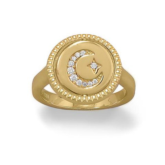 Crescent Moon CZ Reversible Gold Ring