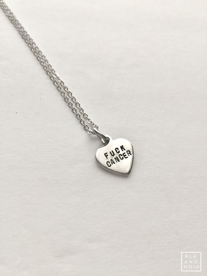Fuck Cancer Heart Necklace