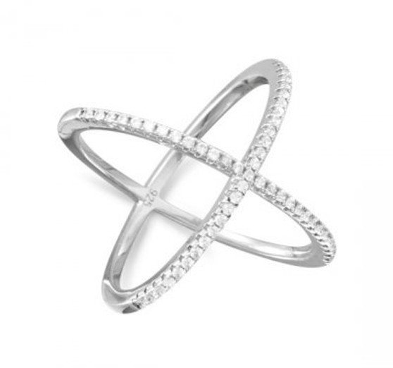 Sterling Silver Criss Cross 'X' Ring