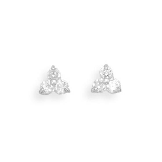 Tri Shape CZ Stud Earrings