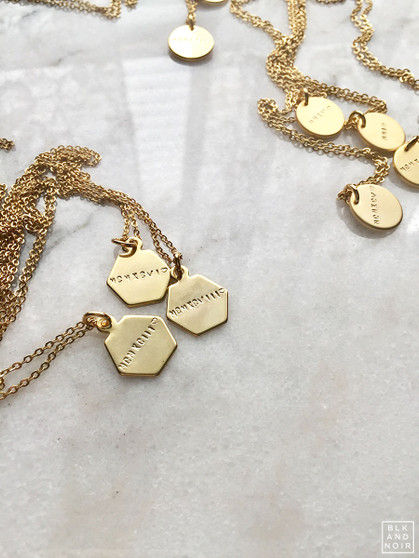 Hexagon Gold Charm Necklace