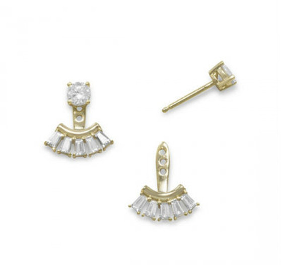14k Gold Vermeil Front Back CZ Earrings