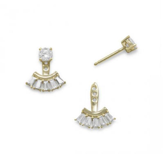 14k Gold Vermeil Front Back CZ Earrings