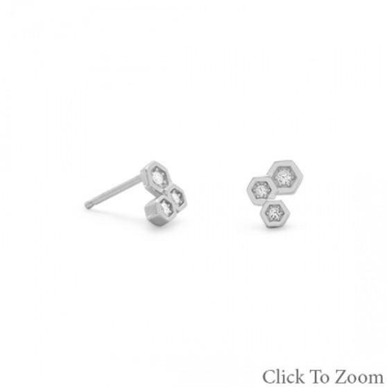 Honey Comb CZ Earrings