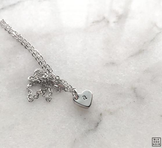 Tiny Alphabet Heart Necklace