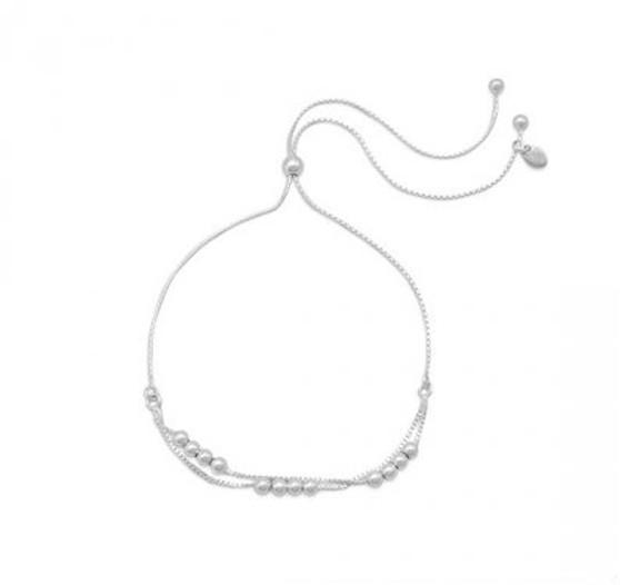 Adjustable Silver Bead Bracelet