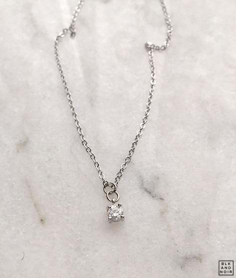 Tiny CZ Dot Charm Necklace